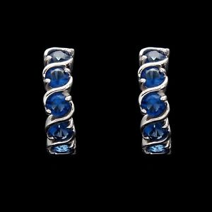 1.00CT Created Blue Sapphire Eternity Huggie Earrings 14K Solid White Gold