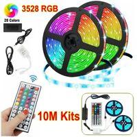 10M RGB LED Strip Light SMD+44 Key Remote+12V DC AU Plug Power 3528 Full Kits
