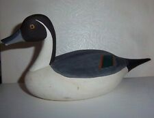 Capt Jess Urie Signed Wooden WHT GRAY Painted Duck Decoy Miniature Rock Hall MD