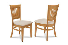SET OF 2 DINING KITCHEN DINETTE CHAIRS w/ CUSHIONED SEATS IN OAK FINISH