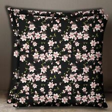 Black Floral Print Home Decorative Cotton Poplin Cushion Cover Pillow Case
