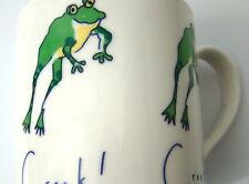 Croak! Croak! Green Leaping Frog Coffee Mug Yellow Belly White Ceramic