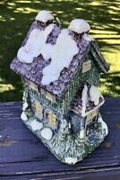 Vintage Large Wax Candle Snowy House New