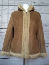 Sonoma Winter Coat Parka Womens Faux Suede Faux Fur Lining Trim Zip Front Sz L