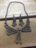 Vintage Paste Deco Necklace And Earring Set