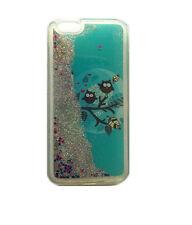 Fun Case Eule blau Glitzer Sterne flüssig Handy Cover hülle Apple iPhone 5 5s