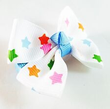 USA SELLER HANDMADE FABRIC Hair Clip  Pin child kid  BOW Fashion Rainbow