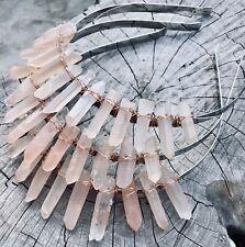 Pink Raw Quartz Crystal Festival Rose Gold Crown Tiara Bridal Headband
