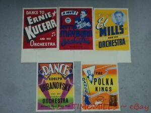 c.1948 Territory Band Music Poster Lot of 5 Vintage Original Mid-Century VG