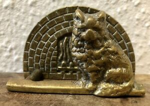Vintage Brass Desk Letter Rack Card Holder Cat Fireplace Traditional Home