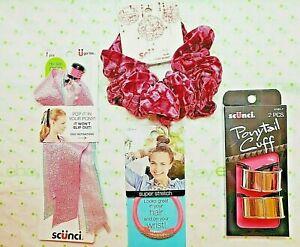 Scunci Set Big One Scrunchie 2 Ponytail Cuffs Pop It In Your Pony & Elastic Pink