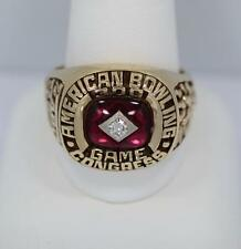 Man's Diamond & 14K Yellow Gold 300 Game American Bowling Congress Ring 21.2G