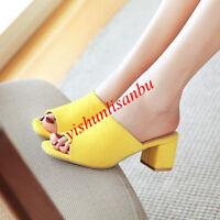 Block Heel Open Toe Summer Slingback Women Shoes Slip On Sandals Elegant Slipper