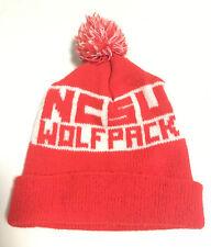 Vintage 1970s Knit Pom Beanie NCSU Wolfpack Stocking/Toboggan Cap Hat