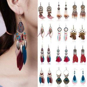 Boho Feather Bead Tassel Dream Catcher Earrings Women Wedding Jewelry Gift New