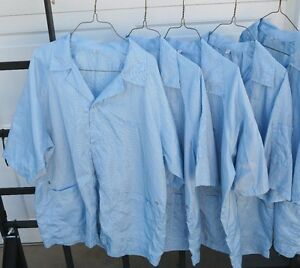 !Lot of 15 Light Blue ESD smocks-various sizes: Medium, Large, and Extra Large!
