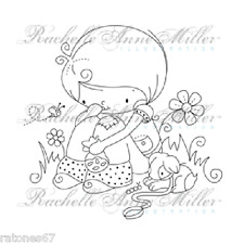 New Stampavie CANDY TIME Girl Puppy Dog Flowers Clear Stamps