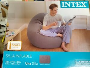 Dorm Chair Beanless Bean Bag Lounge Inflatable Seat Gaming Room Big Lounger Grey