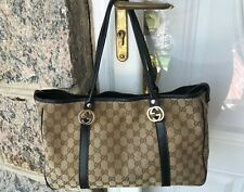 SALE!! Authentic Gucci Twins Tote Bag GG Canvas Beige/Black With Dust bag