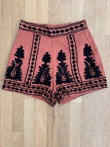 Gianni Bini High Waisted Shorts Sz XS Burnt Orange Embroidered Black