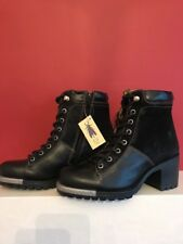 Fly London Leal 689 Women Leather Suede Black Combat BOOTS