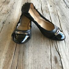 Tod's womens ballet flats, black, silver/rhinestone accent , patent toe, 39/US 9