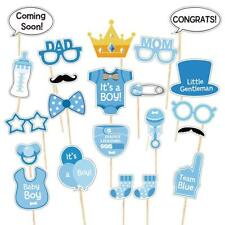 Blue baby boy shower photo-booth props Bottle masks Newborn posing party Infant