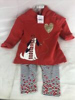 Carter's Girl's 2-Pc Glitter Heart Dog Pullover Hoodie & Striped Legging Pant J1