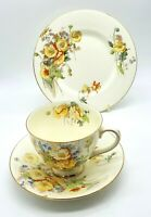 Art Deco Royal Doulton porcelain Marie pattern cup, saucer & side plate. VGC