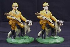 ANTIQUE HUNTER W/ HUNTING SETTER DOG CAST IRON BOOKENDS HUBLEY CIRCA 1930's