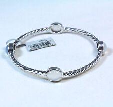 David Yurman Cable Classic Moon Quartz Four Stone Bangle Bracelet Silver $595