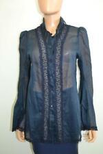 38da36b0c347d Ermanno Scervino Blue Silk Lace Panel Trim Button-down Blouse Top