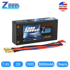 Zeee 7.4V 5000mAh 100C Shorty 2S Lipo Battery Deans Plug for RC Car Truck Boat