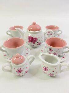 Porcelain Butterfly 13 Piece Tea Set Ages 8+ NIB Childs Play Set