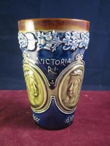 Doulton Lambeth Stone Ware  Queen Victoria 1897  Commemorative Beaker  royal