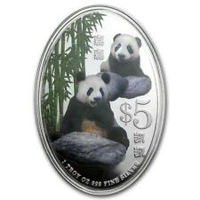 Singapore 2012 $5 Giant Panda Kai Kai Jia Jia Pandas 1 Oz Silver Proof Coin