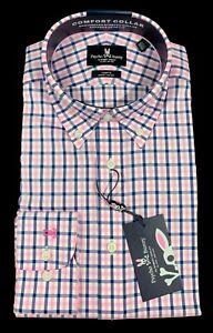 Men's PSYCHO BUNNY White Blue Pink Plaid Dress Shirt 15 1/2 32/33 NWT NEW
