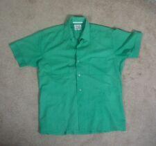 Vintage 1950s Womens Teal Green Rockabilly Dress Shirt Surf Beach Large