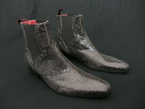 JEFFERY-WEST 'MUSE' Dark Grey snake print CARLITO Rock n Roll Chelsea boot UK 8