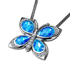 Blue Heart Necklace by Dephini 925 Sterling Silver Pendant CZ Branded Crystal