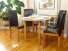 5 Pc Dining Room Dinette Kitchen Set Round Table and 4 Fallabela Chairs Maple