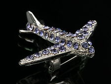 sparkly purple crystal jet airplane aircraft scarf brooch pin Birthday gift D36