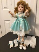 "Aqua Party DOLL DRESS 7Pc Lot-18"" Porcelain-Hard Plastic Shirley Temple"