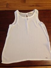 Hollister Juniors Sheer Dressy Tank Top, Ivory Size Small