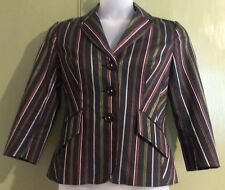 Karen Millen Uk12 Eu40 Us10 Fitted Jacket Black Stripe Design Business Career