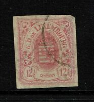 Luxembourg SC# 8, Used, Hinge Remnant, sm shallow thin upper right corner -S4015