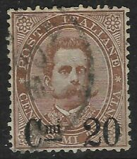 ITALY 1890's 20c OVERPRINT Brown FINE USED