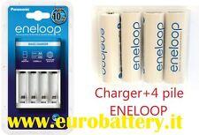 Panasonic Sanyo Eneloop Carica Batterie BQ-CC18 Charger + 4 mini Stilo AAA size