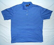 Pro Tour Mens Golf Shirt Size 2XL Blue Striped  Mercerized Cotton