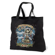 Amor Inmortal Sugar Skulls NEW Black Tote Bag, Day of the Dead Gothic Family
